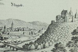 Die Burg Nagold liegt auf einem Berg über dem Flusstal.