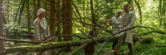 Bauern beim Holzschlagen im Wald