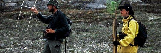 Forscher bei der Telemetrie in Grönland